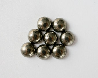 8mm golden pyrite cabochon. smooth polished fools gold. round pyrite. gold pyrite