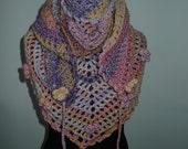 Road Trip Scarf  Flowers RTS, Triangle scarf, Purple, Pink, Lilac & Yellow, Shawl