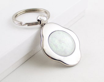 Silver Key Ring, Dichroic Cabochon, Four Leaf Clover Keychain, Unique Key Chain, Keyring, Car Accessories for Women, Cool Gifts for Men