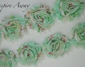 Mint Floral Printed Shabby Chiffon Flower Trim -Your choice of 1 yard or 1/2 yard -  Printed Chiffon Shabby Rose Trim, DIY headband