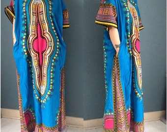 Bright Blue & Pink African Dashiki Max Dress