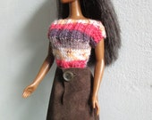 Barbie clothes - suede-style skirt and red/brown striped top