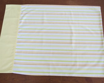 "Vintage Pillowcase - Yellow Green Rust Stripes - 30"" x 20"""