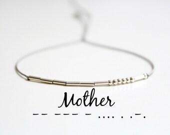 Mom Mother Morse Code Bracelet Dainty Minimalist Jewelry Best Friend Mom Mother Gift Sterling Silver Silk Cord Bracelet