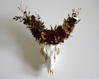 Deer Skull with Preserved Floral Crown - Merlot and Gold