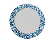 Teal and Purple Round Mosaic Wall Mirror