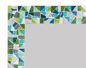 Large Bathroom Mirror || Mosaic Wall Mirror || Teal, Lime Green, Gray
