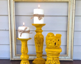 Bird Theme Candle Holder Grouping - Set of 3 Marigold Table Top Pillar Candle Holders - Cottage Chic Beach Mantel Dining Table Decor