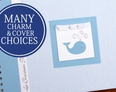 Baby Book   Baby Milestone Book   Baby Memory Book   Baby Boy Album   Whale Baby Book   Personalized   Blue Herringbone with Whale