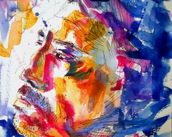 """ORIGINAL watercolor and ink painting, portrait. NOT a print. """"Javier Bardem"""""""