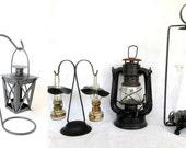 Vintage Set of 4 Black Tin Lanterns Four (4)
