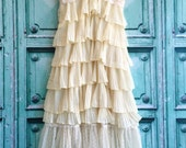 pale yellow & cream lace accordion pleat chiffon tiered party dress by mermaid miss Kristin