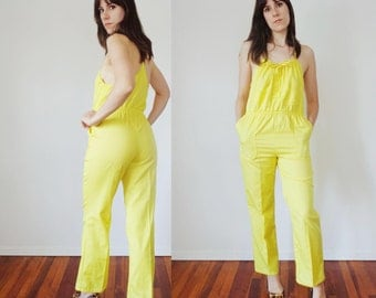Vtg 70s LEMON Yellow JUMPSUIT With RACER Back, Small to Medium