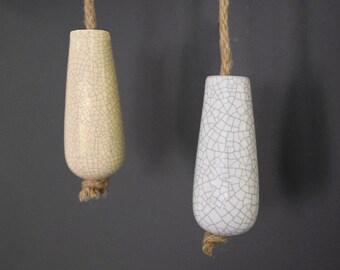 Ceramic Porcelain Crackled White & Cream Bathroom Light Pulls