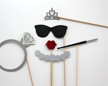 Bachelorette Photo Booth Props with Glittered Diamond Ring and Tiara - Bride Photobooth Set