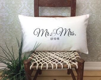 Mr. & Mrs. Pillow, Lumbar Pillow, Wedding Pillow, Anniversary Pillow, Personalized Pillow, Wedding Gift Pillow, Bedroom Pillow