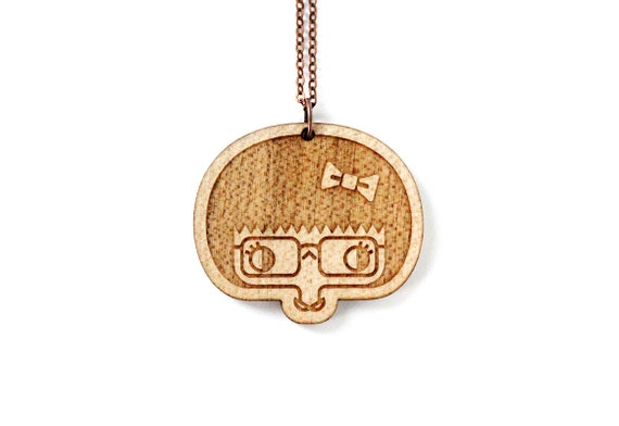 Esther necklace - geek girl pendant - cute hipster girl character - metal and wood illustrated necklace - lasercut maple wood jewelry
