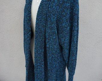Vintage Long Sweater, Long Knit Sweater, Long Cardigan, Teal Sweater, Blue Sweater, Teal Blue Cardigan, Cozy