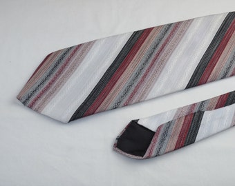 Vintage Wemlon by Wembley Men's Tie, Black Pink Maroon White Grey Stripes