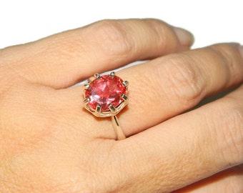 Padparasha Ring,Sterling Silver Ring With Stone, Ring With Oval Gemstone, Papaya Quartz,