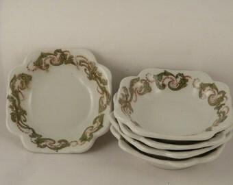 OPCO Syracuse, vintage restaurant ware, square bowls, set of 5