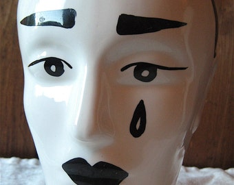 Jester Mannequin Head - Vintage Hand-Painted Pottery Bust - Original Antique Countertop Hat Stand - Display Statue - Single Dramatic Tear