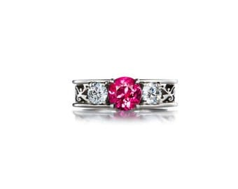trilogy filigree ring with Pink tourmaline, filigree, Diamond ring, engagement ring, tourmaline, pink engagement, lace, white gold, wedding