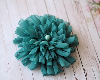 Flower Pin Brooch, Teal Hair Accessory, Beach Hair Accessory, Lapel Flower Brooch, Blue Bridal Hair Flower, Blue Wedding Headpiece