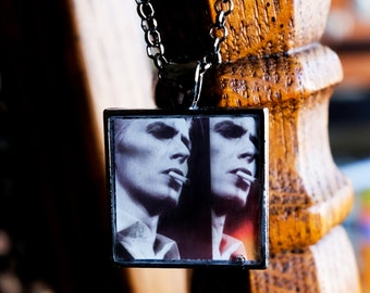 Thin White Duke - David Bowie necklace collage handmade resin photo pendant square gunmetal silver 70s smoking