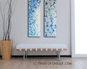 Large Abstract Paintings / 2 set painting 36 x 12 / Melted Metal Wall Art / Lava lamp / silver, metal, Blue, white