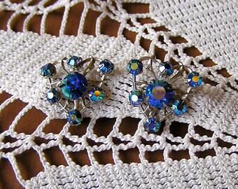 Vintage Blue Aurora Borealis Screw Back Earrings