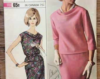 Vintage 1960's Two Piece Dress Sewing Pattern Simplicity 6269
