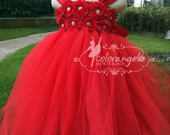 Red Flower girl dress chiffton flowers tutu dress baby dress toddler birthday dress wedding dress 1-8T