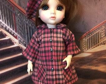 4 pc Plaid Coat set fits Dollmore Mokashura Baby