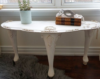 Half circle accent table ornate shabby cottage chic cream white furniture embellished rose garland appliques home decor anita spero design
