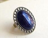 Blue Sandstone Ring, Midnight Blue Bronze Ring, Blue Galaxy Gemstone Jewelry