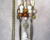 Brown Ivory fringe necklace, gypsy bib necklace, earth tone bohemian jewelry