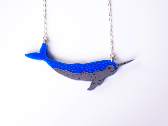 Narwhal Necklace. Narwhale Pendant. Whale Necklace. Statement Necklace. Bib Necklace Unicorn of the Sea Plastic Necklace