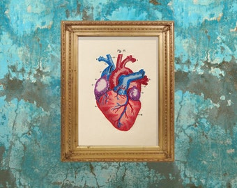 Heart Anatomy Art. Embroidered Anatomical Heart. Medical Art. Wall Science Art. Paper Embroidery. Gift for Doctor. Gift for Medical Student