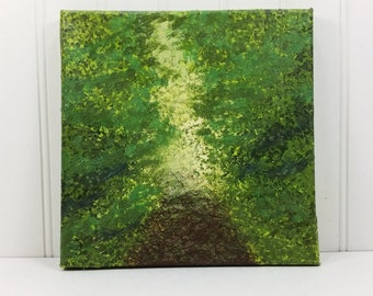 Forest Trail Abstract Landscape Painting, Spring Walk Along the Wooded Path