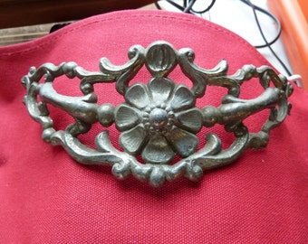 French Provincial Pewter Curved Drawer Pulls Large MetalFloral Design
