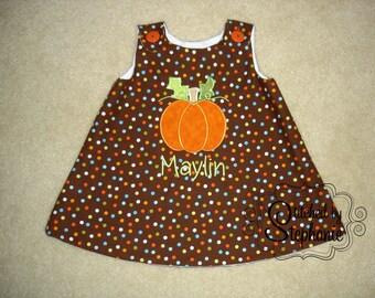 Baby or toddler girls embroidered Halloween Thanksgiving pumpkin applique personalized monogrammed brown polka dot jumper dress