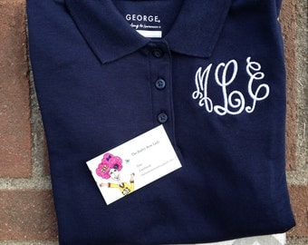 Monogrammed Navy and White School Uniform Girls Short Sleeve Polo Shirt