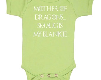 Mother Of Dragons versus Smaug bodysuit onesie Geek Baby / 3M/6M