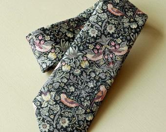 Handstitched tie Liberty tana lawn Strawberry Thief - William Morris design tie -  Liberty tie - bird design tie