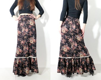 Vintage Black Floral Maxi Long Gypsy Skirt
