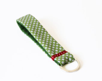short lanyard handmade keychain green white dotted dots patterned fabric lanyards