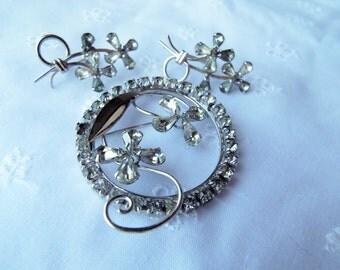 Phyllis Sterling Crystal Rhinestone Brooch and Earring Set