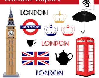 Digital Clipart-London-British-England-Union Jack-Travel-Vacation-Europe-Telephone Booth-Big Ben-Digital Scrapbook-London Clip Art