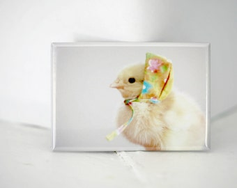 Chicks in Hats Chicken In A Miniature Floral Hat Cute Chickens Baby Animal Magnet